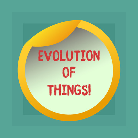 Conceptual hand writing showing Evolution Of Things. Business photo showcasing process gradual change takes place over analysisy generations Bottle Packaging Lid Carton Container Easy to Open Cover Stock Photo