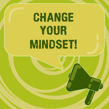 Handwriting text Change Your Mindset. Concept meaning fixed mental attitude or disposition demonstrating responses Megaphone photo and Blank Rectangular Color Speech Bubble with Reflection Standard-Bild