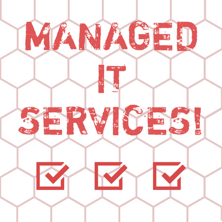 Writing note showing Managed It Services. Business photo showcasing assumes responsibility providing defined set activities Outline of Geometric Shape Hexagon in Seamless Repeat Pattern photo 写真素材