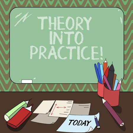 Conceptual hand writing showing Theory Into Practice. Business photo showcasing Hands on learning Apply knowledge in actual situation Mounted Blackboard with Chalk Writing Tools Sheets on Desk Stock Photo