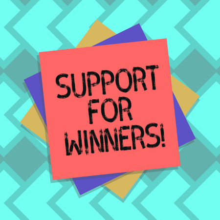 Text sign showing Support For Winners. Conceptual photo give assistance to showing demonstrating who won competition Multiple Layer of Blank Sheets Color Paper Cardboard photo with Shadow Banque d'images