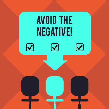 Handwriting text Avoid The Negative. Concept meaning asking someone to go for positive actions altitude Blank Space Color Arrow Pointing to One of the Three Swivel Chairs photo Stock Photo
