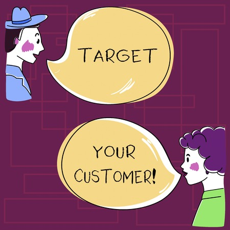 Text sign showing Target Your Customer. Conceptual photo Aim those clients who are most likely to buy from you Hand Drawn Man and Wo analysis Talking photo with Blank Color Speech Bubble