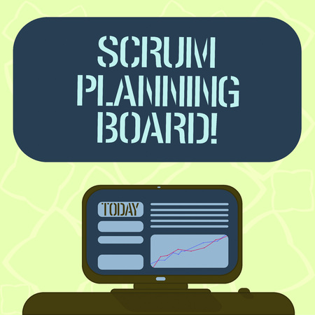 Handwriting text writing Scrum Planning Board. Concept meaning visual display of the progress of the Scrum team Mounted Computer Screen with Line Graph on Desk Blank Color Text Box