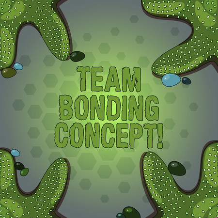 Word writing text Team Bonding Concept. Business concept for Improve workplace projects that involve teamwork Starfish photo on Four Corners with Colorful Pebbles for Poster Ads Cards Imagens