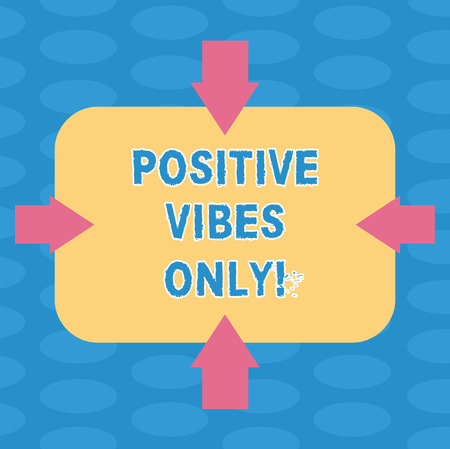Word writing text Positive Vibes Only. Business concept for emotional signals demonstrating gives to those around them Arrows on Four Sides of Blank Rectangular Shape Pointing Inward photo Фото со стока