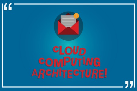 Handwriting text writing Cloud Computing Architecture. Concept meaning Components and the relationships between them Open Envelope with Paper New Email Message inside Quotation Mark Outline 免版税图像