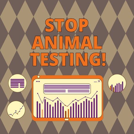 Handwriting text writing Stop Animal Testing. Concept meaning scientific experiment which live animal forced undergo Digital Combination of Column Line Data Graphic Chart on Tablet Screen