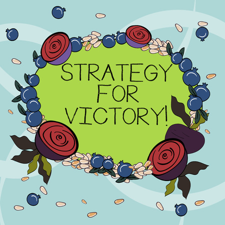 Handwriting text writing Strategy For Victory. Concept meaning detailed plan for achieving success in the situation Floral Wreath made of Tiny Seeds Small Glossy Pomegranate and Cut Beet