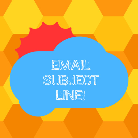 Handwriting text Email Subject Line. Concept meaning introduction that identifies email or message intent Sun Hiding Shining Behind Blank Fluffy Color Cloud photo for Poster Ads