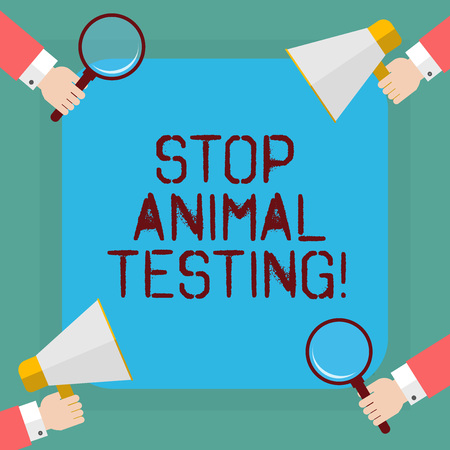 Conceptual hand writing showing Stop Animal Testing. Business photo showcasing scientific experiment which live animal forced undergo Hu analysis Hands Holding Magnifying Glass and Megaphone