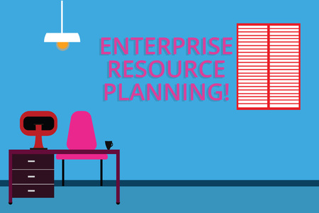 Handwriting text Enterprise Resource Planning. Concept meaning analysisage and integrate core business processes Work Space Minimalist Interior Computer and Study Area Inside a Room photo