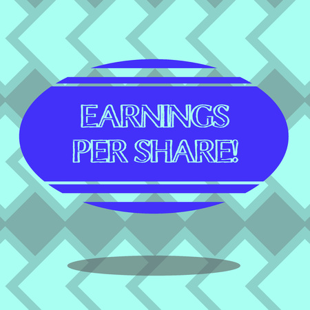 Text sign showing Earnings Per Share. Conceptual photo portion of company profit allocated to each holder Blank Color Oval Shape with Horizontal Stripe Floating and Shadow photo 写真素材