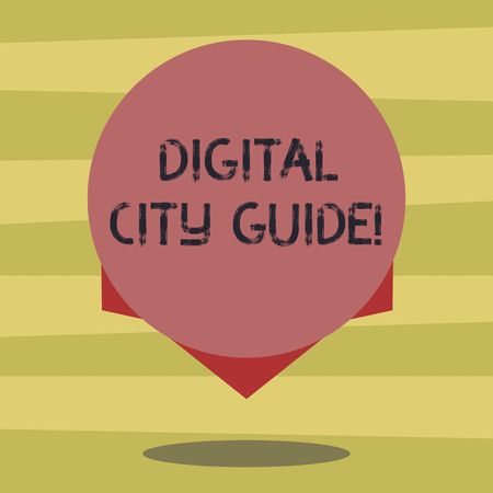 Text sign showing Digital City Guide. Conceptual photo app which provides assistance information on cultural Blank Color Circle Floating photo with Shadow and Design at the Edge 免版税图像
