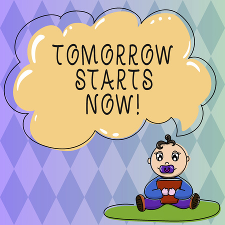 Text sign showing Tomorrow Starts Now. Conceptual photo get going from today put plan for near far future Baby Sitting on Rug with Pacifier Book and Blank Color Cloud Speech Bubble Banco de Imagens