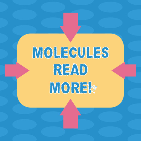 Word writing text Molecules Read More. Business concept for smallest amount of chemical Atom particle mite Arrows on Four Sides of Blank Rectangular Shape Pointing Inward photo