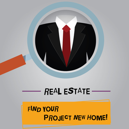 Handwriting text Real Estate Find Your Project New Home. Concept meaning Looking for a house property Magnifying Glass photo Enlarging Inspecting a Tuxedo and Label Tag Below Фото со стока
