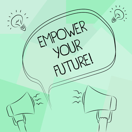 Conceptual hand writing showing Empower Your Future. Business photo text career development and employability curriculum guide Freehand Outline Sketch of Speech Bubble Megaphone Idea Icon 版權商用圖片