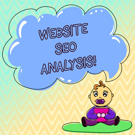 Handwriting text Website Seo Analysis. Concept meaning Process of making changes to increase site visibility Baby Sitting on Rug with Pacifier Book and Blank Color Cloud Speech Bubble