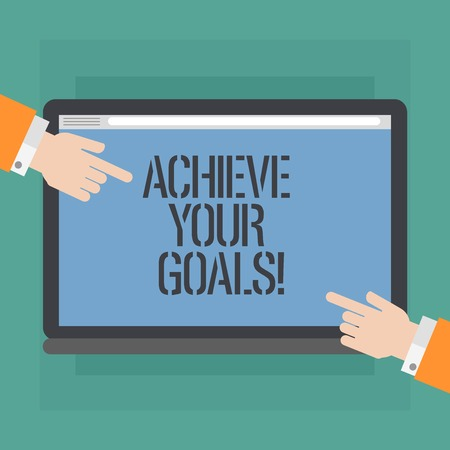 Conceptual hand writing showing Achieve Your Goals. Business photo showcasing accomplish goal or to do something you set out be done Hu analysis Hands Pointing on a Blank Color Tablet Screen