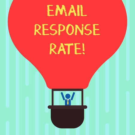 Word writing text Email Response Rate. Business concept for percentage showing saw something then completed action Hu analysis Dummy Arms Raising inside Gondola Riding Blank Color Air Balloon 스톡 콘텐츠