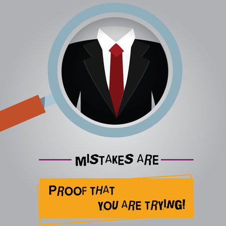 Handwriting text Mistakes Are Proof That You Are Trying. Concept meaning Trial and error is the way to success Magnifying Glass photo Enlarging Inspecting a Tuxedo and Label Tag Below Фото со стока