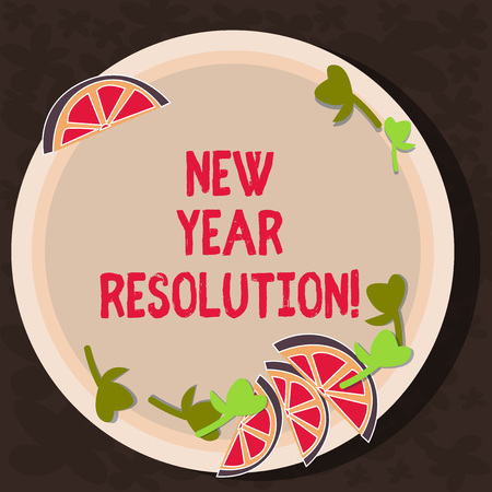 Text sign showing New Year Resolution. Conceptual photo promise that you make yourself start doing something Cutouts of Sliced Lime Wedge and Herb Leaves on Blank Round Color Plate Stock Photo - 116238980