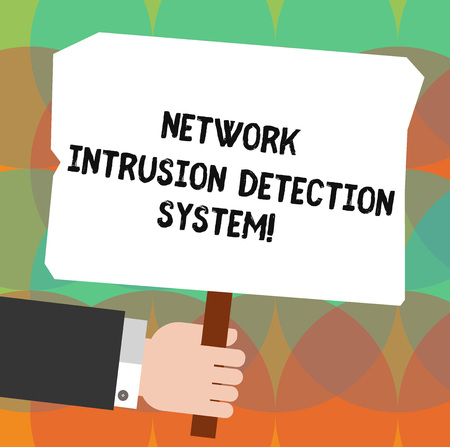 Conceptual hand writing showing Network Intrusion Detection System. Business photo showcasing Safety security multimedia systems analysis Holding Colored Placard with Stick Text Space