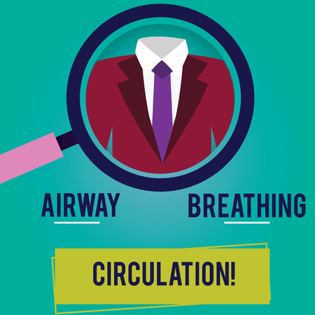 Conceptual hand writing showing Airway Breathing Circulation. Business photo showcasing Memory aid for rescuers performing CPR Magnifying Glass Enlarging a Tuxedo and Label Tag Below