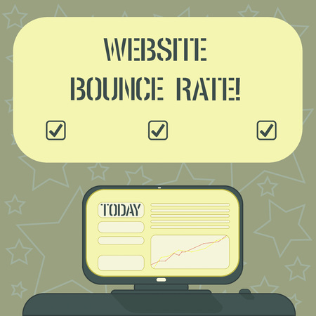 Handwriting text writing Website Bounce Rate. Concept meaning Internet marketing term used in web traffic analysis Mounted Computer Screen with Line Graph on Desk Blank Color Text Box