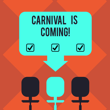 Handwriting text Carnival Is Coming. Concept meaning public festival which showing play music and dance Blank Space Color Arrow Pointing to One of the Three Swivel Chairs photo Фото со стока