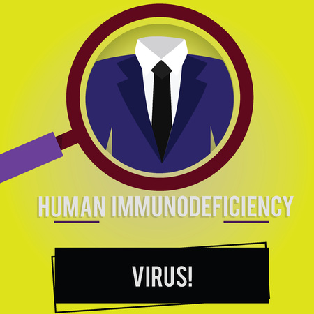 Handwriting text Huanalysis Immunodeficiency Virus. Concept meaning virus in huanalysis blood that weakens immune system Magnifying Glass photo Enlarging Inspecting a Tuxedo and Label Tag Below Фото со стока