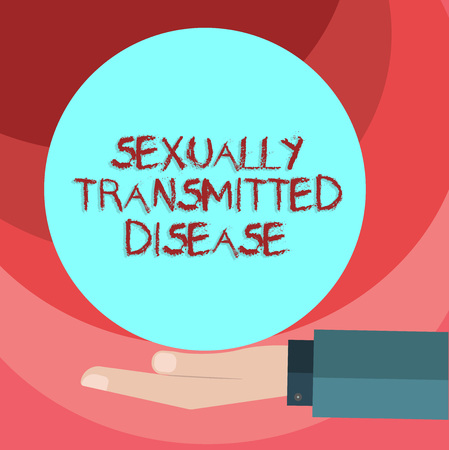 Text sign showing Sexually Transmitted Disease. Conceptual photo Diseases spread by sexual intercourse Hu analysis Hand in Suit Offering Blank Solid Color Circle for Logo Posters