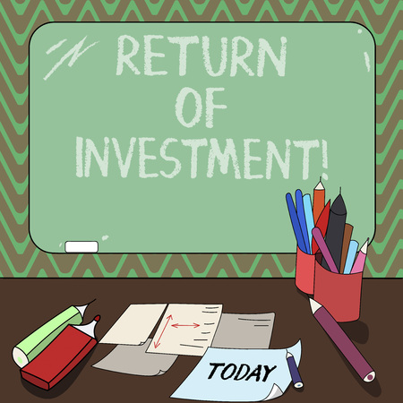 Conceptual hand writing showing Return Of Investment. Business photo showcasing measures the gain or loss generated on an investment Mounted Blackboard with Chalk Writing Tools Sheets on Desk