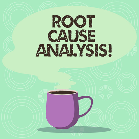 Handwriting text Root Cause Analysis. Concept meaning method of problem solving used for identifying causes Mug photo Cup of Hot Coffee with Blank Color Speech Bubble as Steam icon