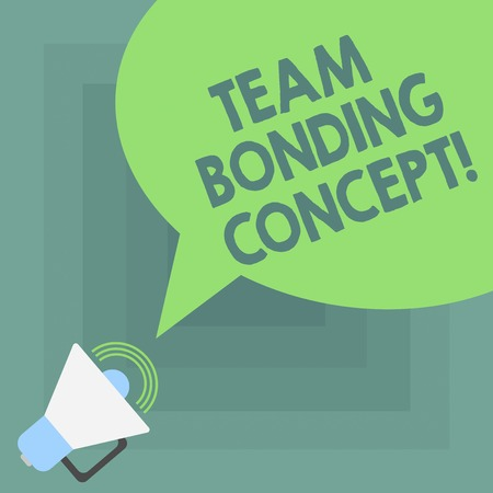 Conceptual hand writing showing Team Bonding Concept. Business photo showcasing Improve workplace projects that involve teamwork Megaphone with Sound Volume and Blank Color Speech Bubble