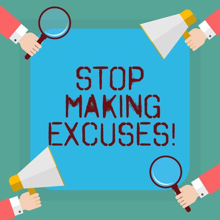 Conceptual hand writing showing Stop Making Excuses. Business photo showcasing do not explanation for something that went wrong Hu analysis Hands Holding Magnifying Glass and Megaphone Stok Fotoğraf