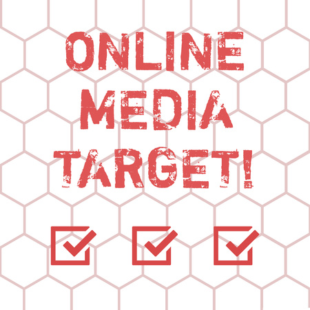 Writing note showing Online Media Target. Business photo showcasing intended audience or readership of publication Outline of Geometric Shape Hexagon in Seamless Repeat Pattern photo