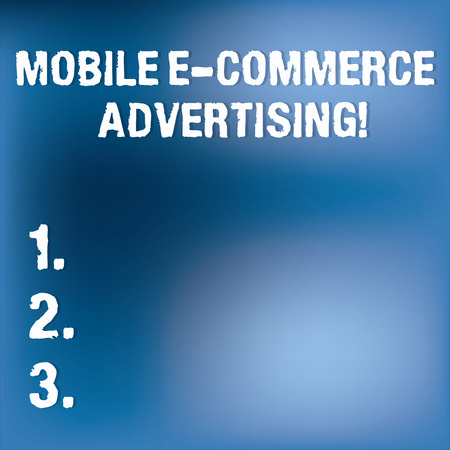 Text sign showing Mobile E Commerce Advertising. Conceptual photo use of mobile devices in marketing brand Blurry Light Flashing Glaring on Blank Blue Hazy Space for Poster Wallpaper Archivio Fotografico
