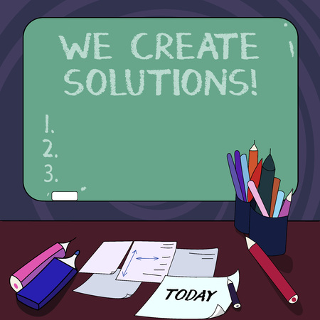Handwriting text We Create Solutions. Concept meaning way to solve problem or deal with difficult situation Mounted Blank Color Blackboard with Chalk and Writing Tools Sheets on Desk