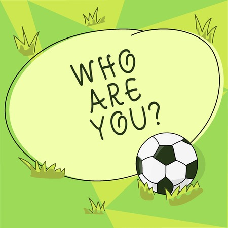Conceptual hand writing showing Who Are Youquestion. Business photo showcasing refer to demonstrating showing being spoken or written to Soccer Ball on the Grass and Blank Round Color Shape photo Stock Photo