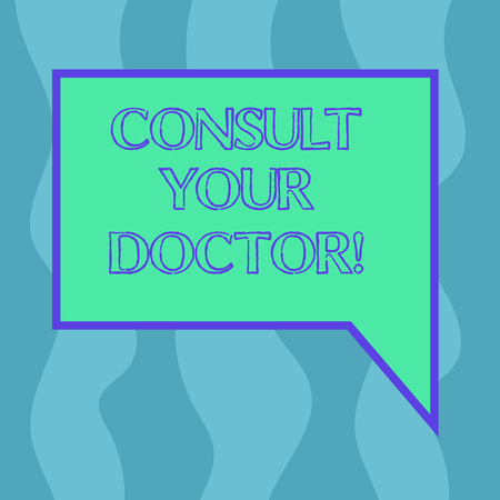 Conceptual hand writing showing Consult Your Doctor. Business photo showcasing go to someone that studied in medical school for advice Blank Deformed Color Round Shape with Small Circles Banque d'images - 116271126