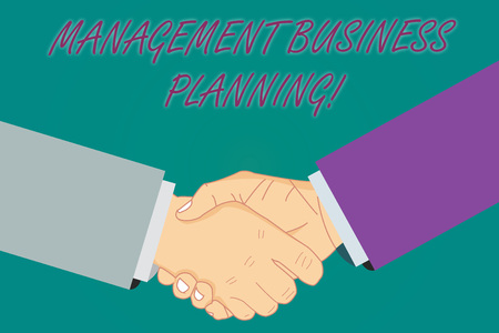 Conceptual hand writing showing Management Business Planning. Business photo showcasing Focusing on steps to make business succeed Hu analysis Shaking Hands on Agreement Sign of Respect Standard-Bild