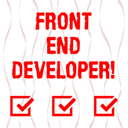 Handwriting text Front End Developer. Concept meaning computer programmer codes and creates visual elements Vertical Curved Ribbon Strip Twisted Sash in Seamless Repeat Pattern photo