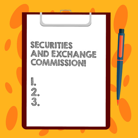 Writing note showing Securities And Exchange Commission. Business photo showcasing Safety exchanging commissions financial Sheet of Bond Paper on Clipboard with Ballpoint Pen Text Space Stockfoto