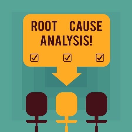 Conceptual hand writing showing Root Cause Analysis. Business photo text method of problem solving used for identifying causes Space Color Arrow Pointing to One of the Three Swivel Chairs Imagens