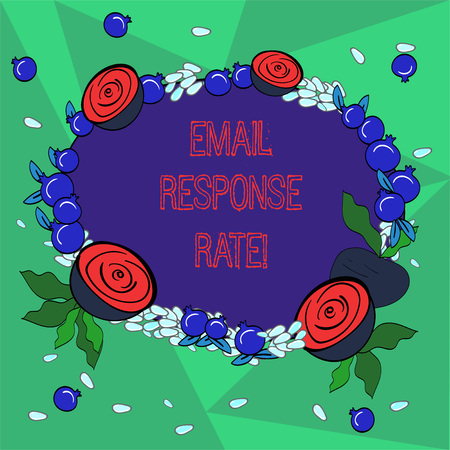 Word writing text Email Response Rate. Business concept for percentage showing saw something then completed action Floral Wreath made of Tiny Seeds Small Glossy Pomegranate and Cut Beet