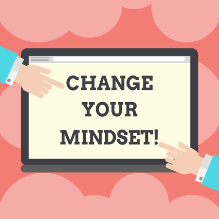 Writing note showing Change Your Mindset. Business photo showcasing fixed mental attitude or disposition demonstrating responses Hu analysis Hands Pointing on a Blank Color Tablet Screen