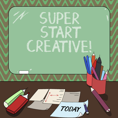 Conceptual hand writing showing Super Start Creative. Business photo showcasing Ability to invent and develop original marketing ideas Mounted Blackboard with Chalk Writing Tools Sheets on Desk