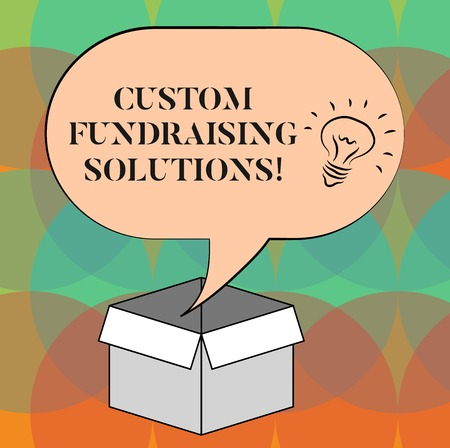 Word writing text Custom Fundraising Solutions. Business concept for software to help raising money online Idea icon Inside Blank Halftone Speech Bubble Over an Open Carton Box Banco de Imagens